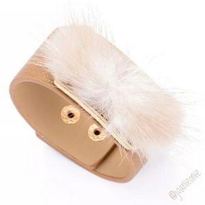 Cream Fur Snap Adj Leather Bracelet NWT